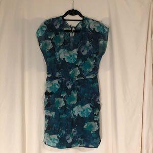 Xhilaration Blue Printed Tie Back Dress w/ Slip